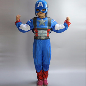 Fantasia Infantil Capitão América Músculo C/ Máscara