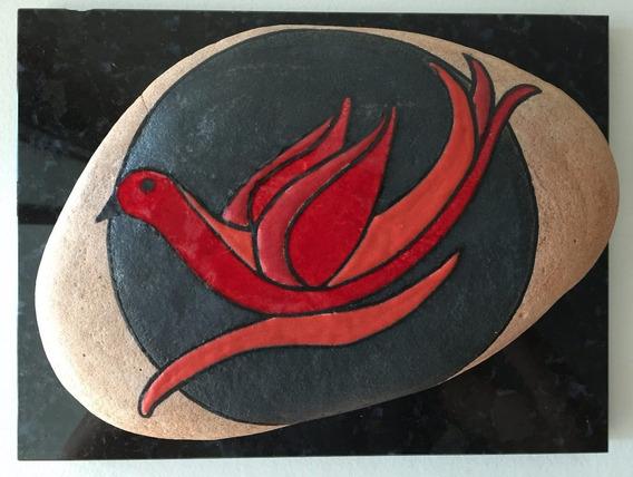 Pedra Pássaro Vermelho Com Base De Granito