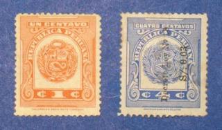 2 Estampillas Timbre 1 4 Centav Escudo República Peru Ley 18