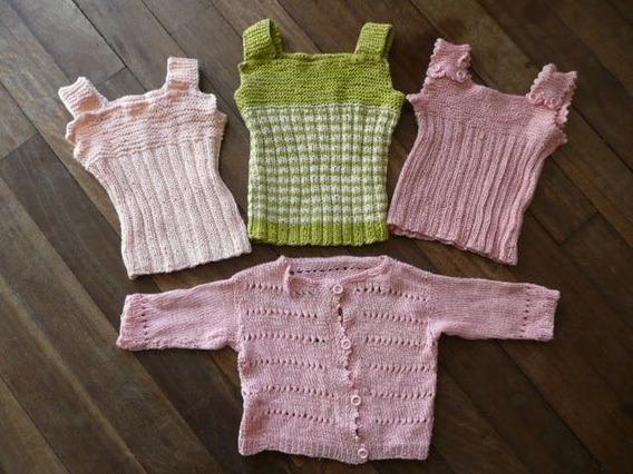 Chalecos Crochet Bebe Por 3 + Saquito Hilo Perfectos