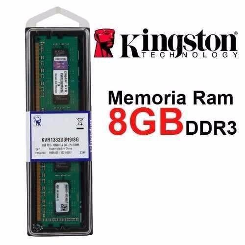Memória Kingston 8gb 1333mhz Ddr3 Pc10666 Kvr1333d3n9/8g