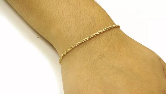 Pulseira Feminina Ouro 18k Corda 17cm Pc0105