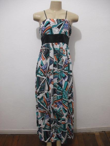 Vestido Longo Colorido Natural Basic Tam M Usado Bom Estado
