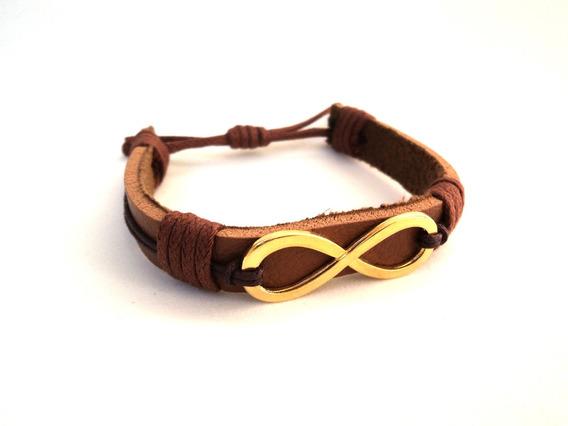 Pulseira Couro Feminina Amor Infinito Dourado Bracelete