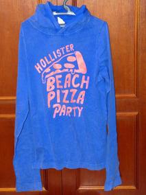 Camiseta Hollister, Usada, Azul, Gg, Manga Long100% Original