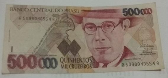 Cédula De 500 000 Cruzeiros Mário De Andrade, Ótima Condição