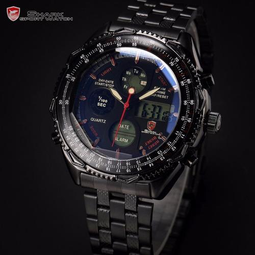 Reloj Shark Eightgill Sh116 Doble Dial Cronógrafo Lujo