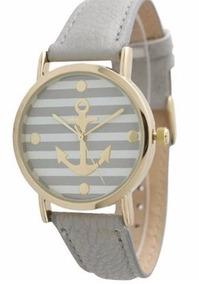 Relógio De Pulso Âncora Marinheiro Cinza Com Caixa