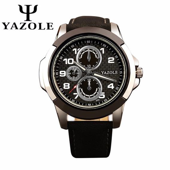 Relógios Masculino Yazole Pulseira De Couro Preta Barato