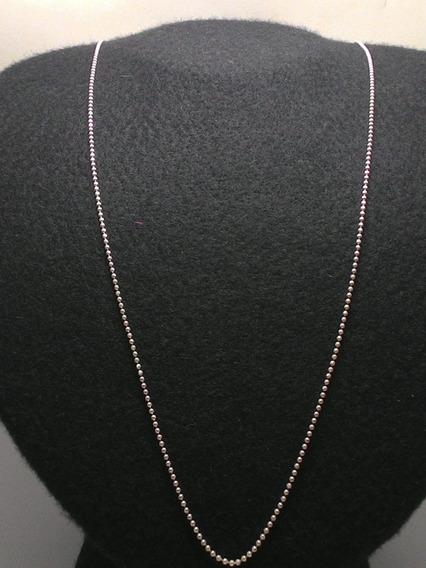 Corrente Banhada Em Prata Bolinhas - 70 Cm