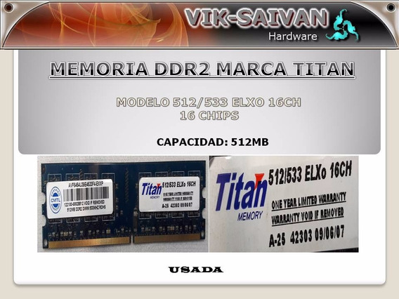 Memoria Ddr2 Titan 512mb Pc2-4200 533mhz 16 Chips 1