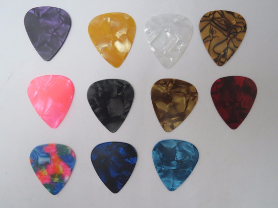 Combo C/ 10 Palhetas Sortidas P/ Guitarra E Violão Coloridas