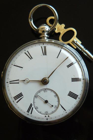 Reloj Bolsillo Ingles Plata Solido Catalino 1875 Diamante