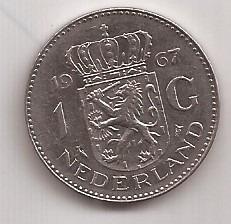 Holanda Moneda De 1 Gulden Año 1967