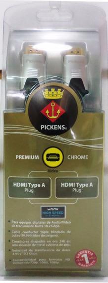 Cable Hdmi A Hdmi 2m Pickens Premium Chrome Profesional