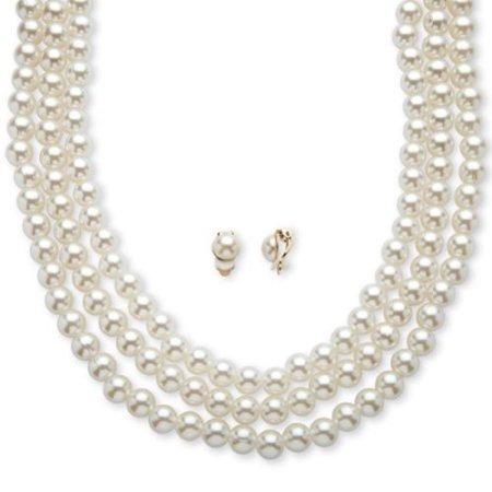 Blanco Triple-strand Y Collar De Perlas Clip-on Pendientes E