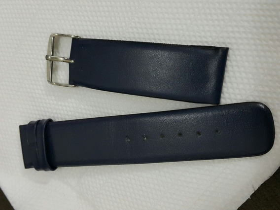 Pulseira Azul Marinho De Couro 22mm