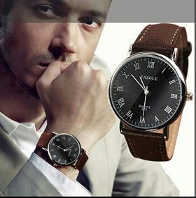 Relógio Masculino Luxo Pulseira Marron De Couro