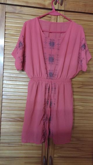 Vestido Minifalda Salmon Organza Con Bordado Gris Espectacu