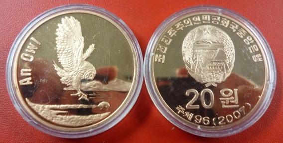 Corea Del Norte Moneda Cobre 20 Won 2007 Buho