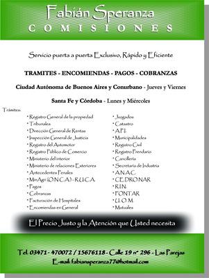 Tramites, Comisiones Y Encomiendas Bs As, Córdoba Y Sta Fe