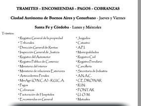 Trámites, Comisiones Y Encomiendas Bs As, Córdoba Y Sta Fe