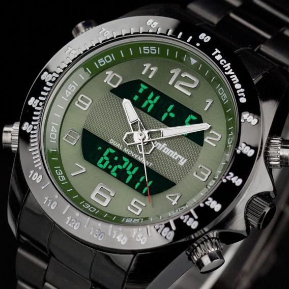 Relógio Infantry Quartz Usa Lcd Digital Aço Luxo Esportivo