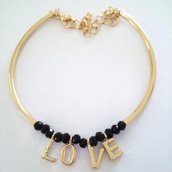 Pulseira Feminina Banhada Ouro 18k Bracelete Dourado Love