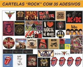 Cartela Com 35 Adesivos Vinil Bandas De Rock - Tam 31x42