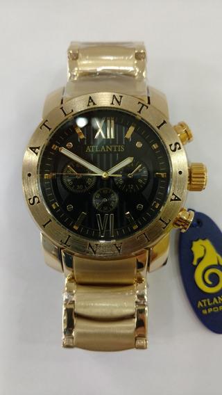 Relógio Original Atlantis Bv Dourado Masculino Nota E Caixa