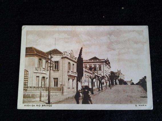 Santa Maria- Rs Antigo Cartão Postal - 1942 - Av. Rio Branco