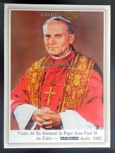 Zaire Juan Pablo Ii, Bloque Sc. 1194 Resello 1985 Mint L8678