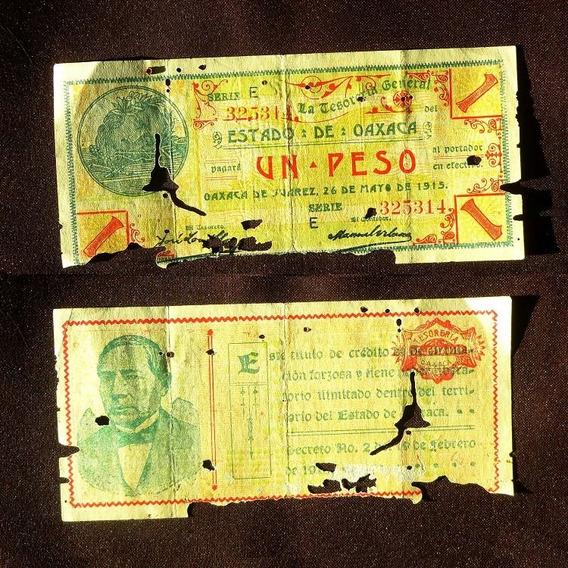 Billete Un 1 Peso 1915 Oaxaca Epoca Revolucion Mexicana