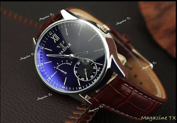 Relógio Masculino Luxo Marrom Yazole -