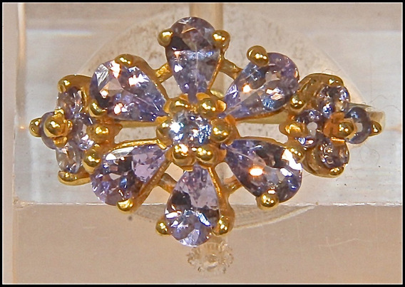 Rsp J1934 Anel Prata 925 A Ouro Tanzanita Natural
