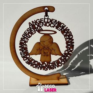 Angel De La Guarda 12x11 En Mdf 3mm - Recuerdos Corte Laser