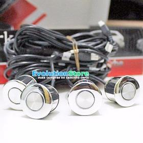 Sensor De Ré Estacionamento Cromado Para Parachoque Ferro