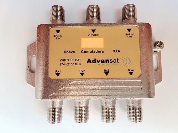 10 Chaves Comutadora 3x4 Amplificada (substitui Lnb Triax )