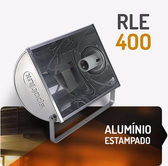 Refletor Alumínio Rle400w E40 Spotlux Retangular Sem Lampada