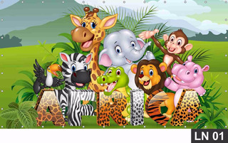 Safari Baby Painel 3,00x1,80m Lona Festa Aniversários