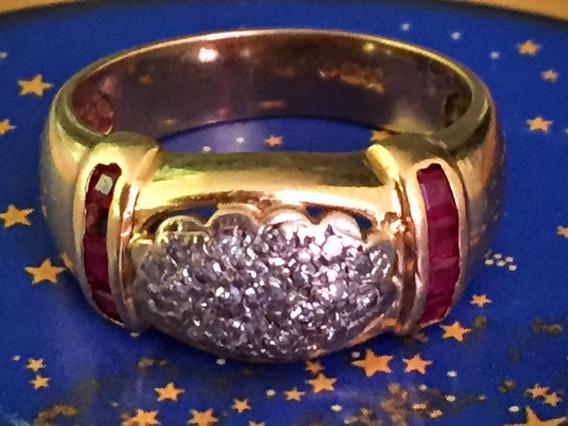 Lindo Anel Ouro 18k-6.8gr.aro17-c/brilhantes E Rubi.