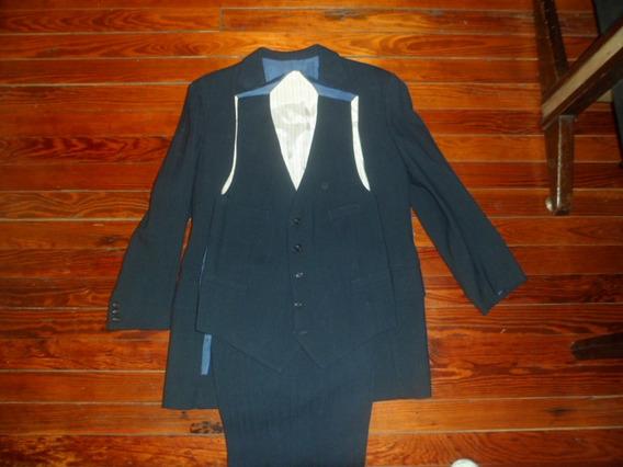 Traje De Hombre Invierno Azul / Rayas C/chaleco