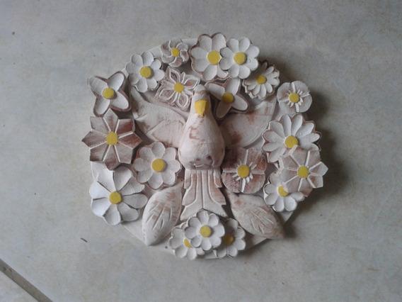Mandala De Divino Espirito Santo Com Flores Em Madeira