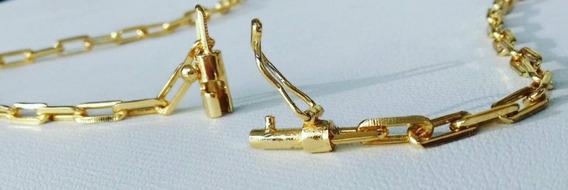 Corrente Cadeado 4mm Elos Soldados - Banhado A Ouro