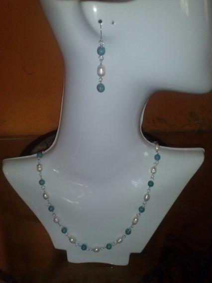 Collar Perlas De Río Piedra Natural En Plataley .925
