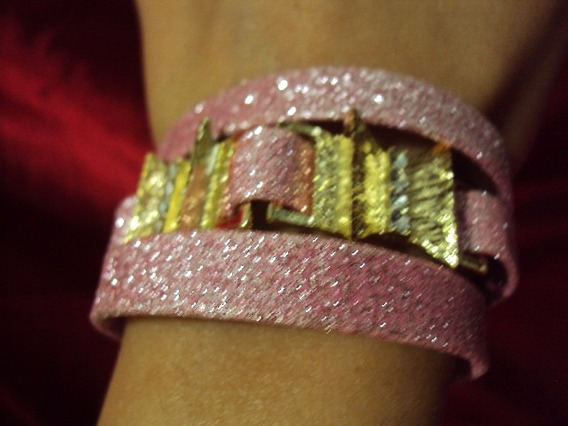 Pulseira Tripla Rosa Glitter Strass Acabamento Cor Ouro