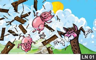 Painel De Festa Aniversário Três Porquinhos 3,00x1,40m Lona