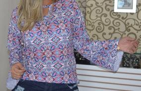 Blusa Estampada Flare Tam Unico