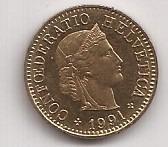 Suiza Moneda De 5 Rappen Año 1991 !!