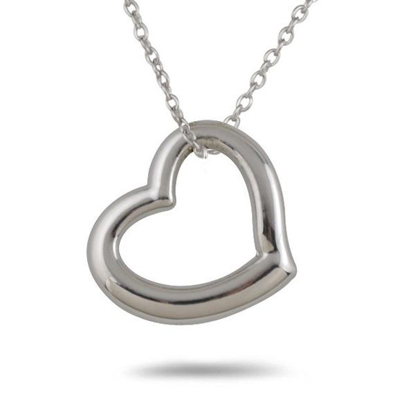 10 Collares Pequeño Corazón Plateado Bisutería